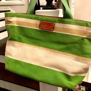 KATE SPADE CANVAS METALLIC STRIPED TOTE LEATHER